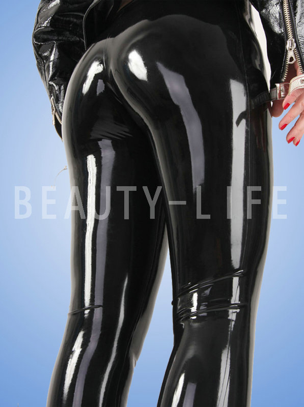 latex pants trousers seamless no zipper black and red color sexy unisex leggings