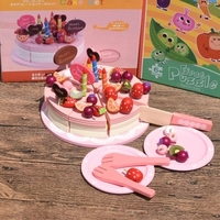 Baby Toy Decoration Cake Set Wooden Play Food Children Pretend Play Kitchen Toys girl birthday/christmas gift