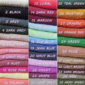 Image 2 - 10 sztuk/partia wysokiej jakości zwykłe kolory marszczone bańki szalik szal z frędzlami muzułmańskie hidżab głowy Wrap duży rozmiar