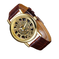 Automatic Waterproof Wristwatch Business Men Fashion Hollow Arabic Numerals Quartz Watch Top Quality Mens Datejust Clock