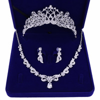 2019 jewelry box suit crown necklace earrings Silver wedding party supplies