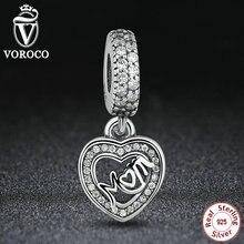 Romántica 925 Silver MAMÁ COLGANTES de PLATA CON ZIRCONIA CÚBICO Corazón Colgante Charm Fit Pandora Pulsera S017