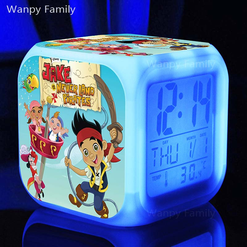 3D Cartoon Pirates Jake Alarm Clocks,Glowing LED Color Change Digital alarm clocks Kids Toy Multifunctio alarm clocks