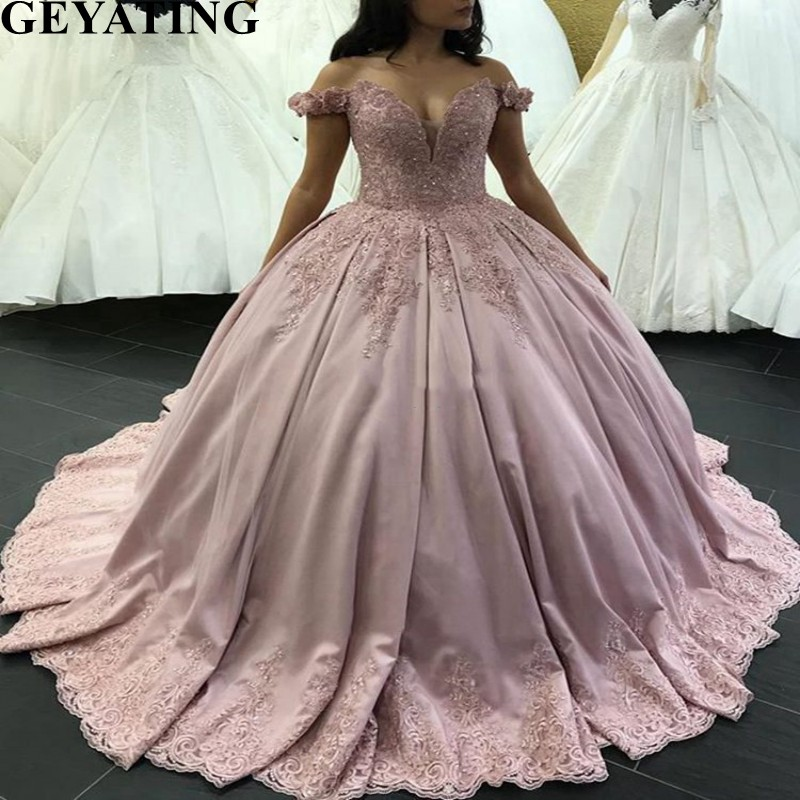 Pink Satin Puffy Ball Gown Quinceanera Dresses 2019 ...