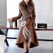 Ptslan Factory Genuine Leather Jacket Women Leather Coat Real Sheepskin Lambskin Soft Women s Leather Fox