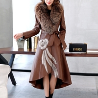 Ptslan Factory Genuine Leather Jacket Women Leather Coat Real Sheepskin Lambskin Soft Women's Leather Fox Fur Collar P3514