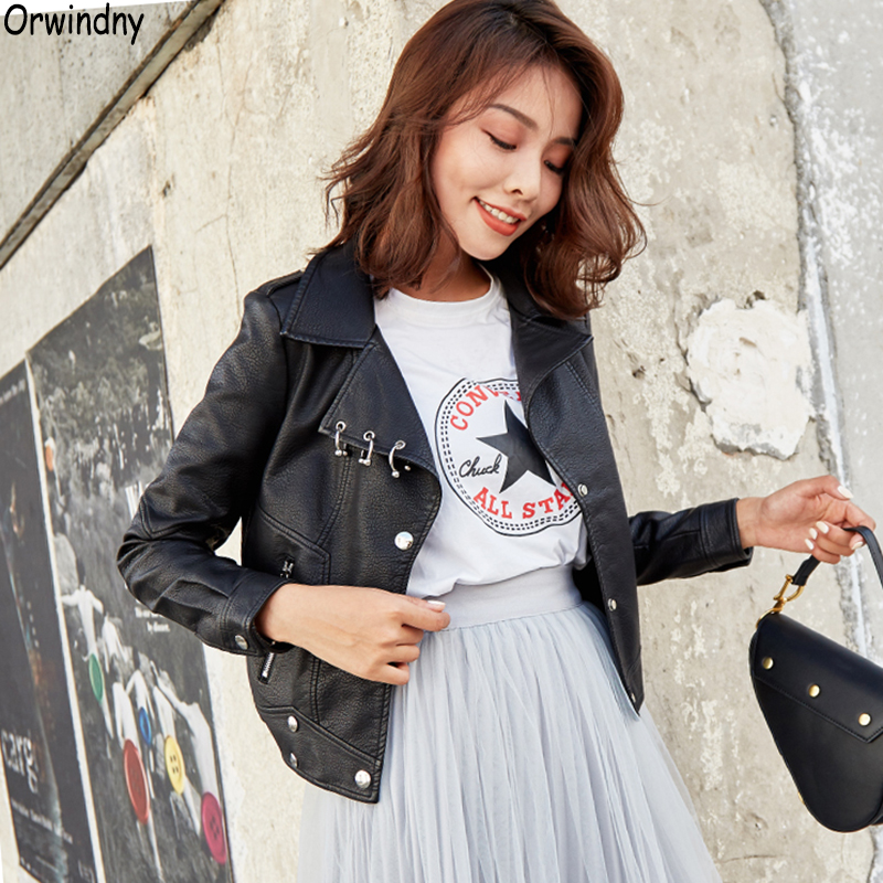 Orwindny 2019 Motorcycle   Leather   Jacket For Girls Small Short Slim   Leather   Coat Women Black Pockets   Leather   Clothing