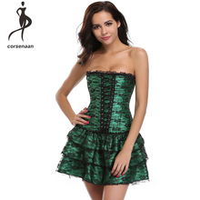 Sexy Bustier Corset Floral Green Dress Tutu-Skirt Lace Cluwear Gothic Women's Fashion