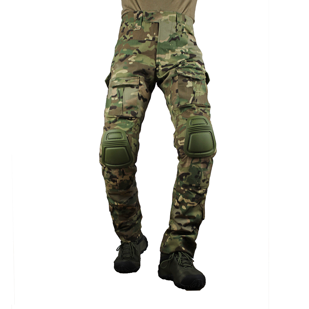 Multicam Camouflage Militar Tactical Pants Army Military Uniform Trouser Airsoft Paintball Combat Cargo Pants With Knee Pads