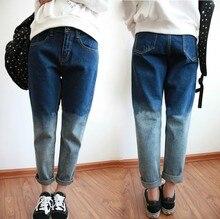 Новый BF Harajuku стиль свободный градиент тонкий керлинг джинсовые джинсы женские шаровары женщин 2016 мода весна