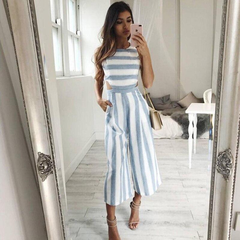 Striped Jumpsuit Rompers 2017 Women Linen Cotton Overalls
