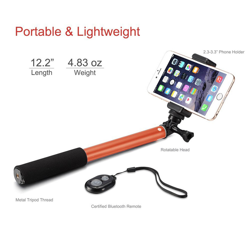 Bluetooth Selfie Stick GoPro Monopod with Tripod Stand for iPhone and Android (Orange) (4)