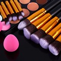 10PCS Professional Makeup Brushes + 15 Colors Concealer Palette+ 2PCS Powder Puff Cosmetic Brushes Tools For Foundation Powder