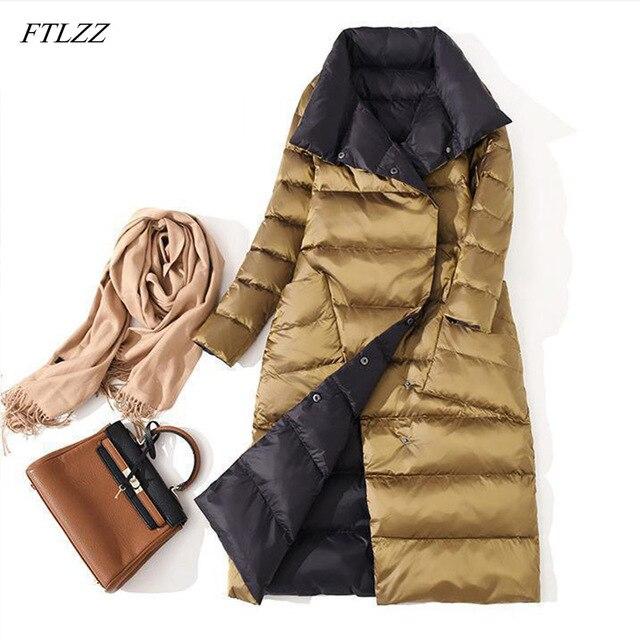 FTLZZ Ultra lekka biała kurtka puchowa damska zimowa dwustronna dopasowany długi płaszcz jednorzędowy ciepły parki śnieżna odzież wierzchnia