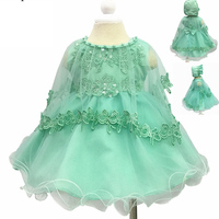 Baby 3pcs Suits Embroidery Baby Girls Flower anniversaire Dresses for Girls 1st birthday party wedding Baptism baby girl clothes
