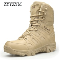ZYYZYM Men Boots Autumn Winter Brand Military Leather Boots Men Special Force Tactical Desert Combat Outdoor Shoes Ankle Boots
