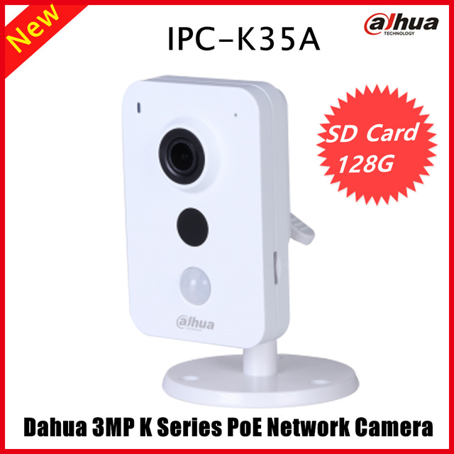 US $80 59 |Newest Dahua IPC K35A 3MP K Series PoE Network Camera DC12V PoE  IP Camera IR Diatance 10m Support SD Card and Onvif Security cam-in