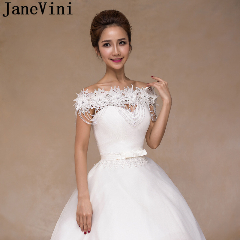 JaneVini Fashion Jewelry Women Accessories Collar Necklace Luxury Lace Flowers Pearl Shoulder Chain Wedding Bridal Crystal 2018