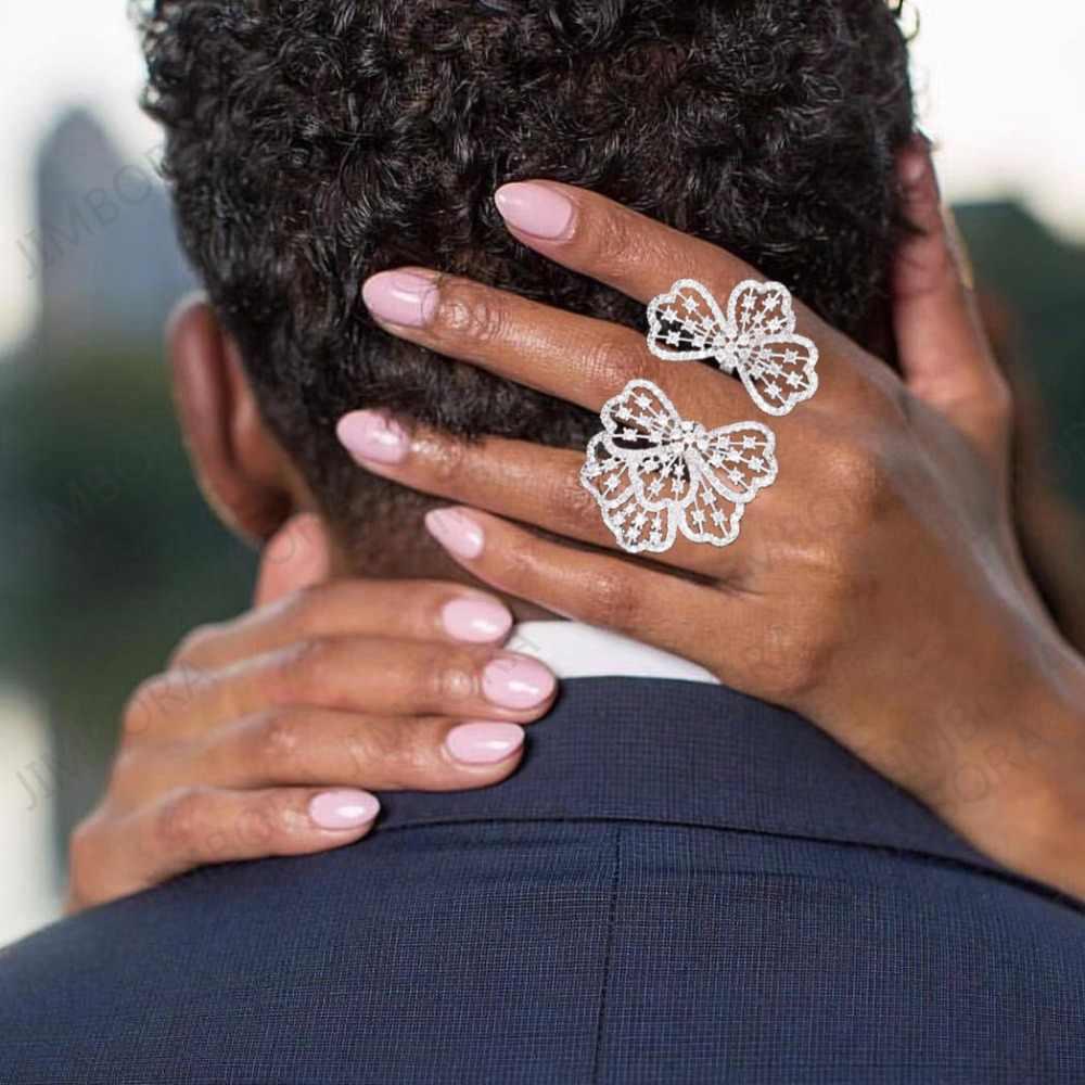 แฟชั่น AAA Cubic Zirconia ดอกไม้รูปร่างปรับขนาดได้แหวนแอฟริกันหมั้นแหวน bague femme