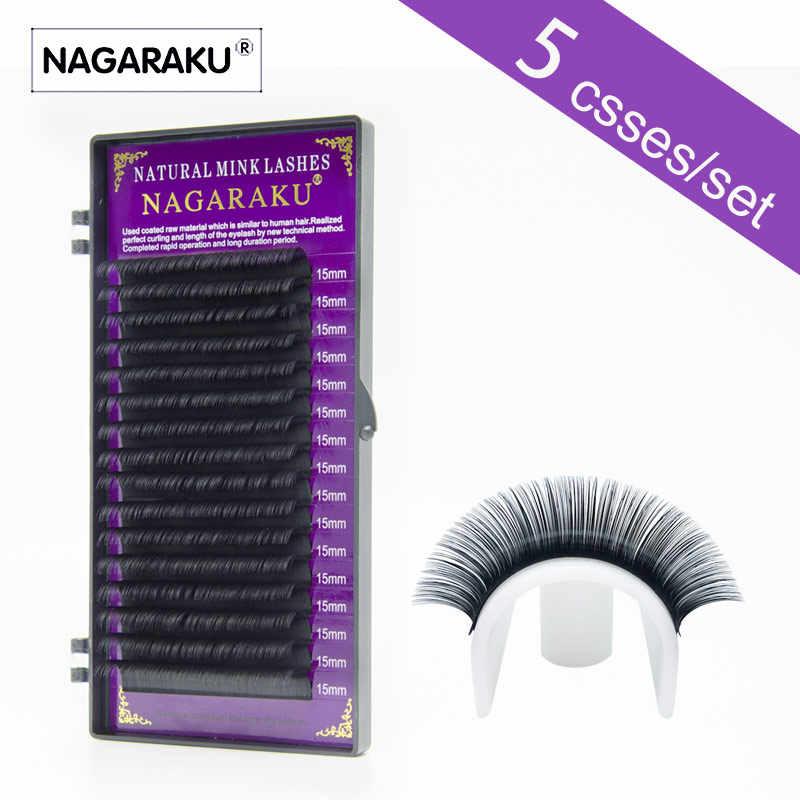 ee98df33ee7 NAGARAKU 5 trays/set Eyelash extensions High quality faux mink individual  eyelashes single lashes false