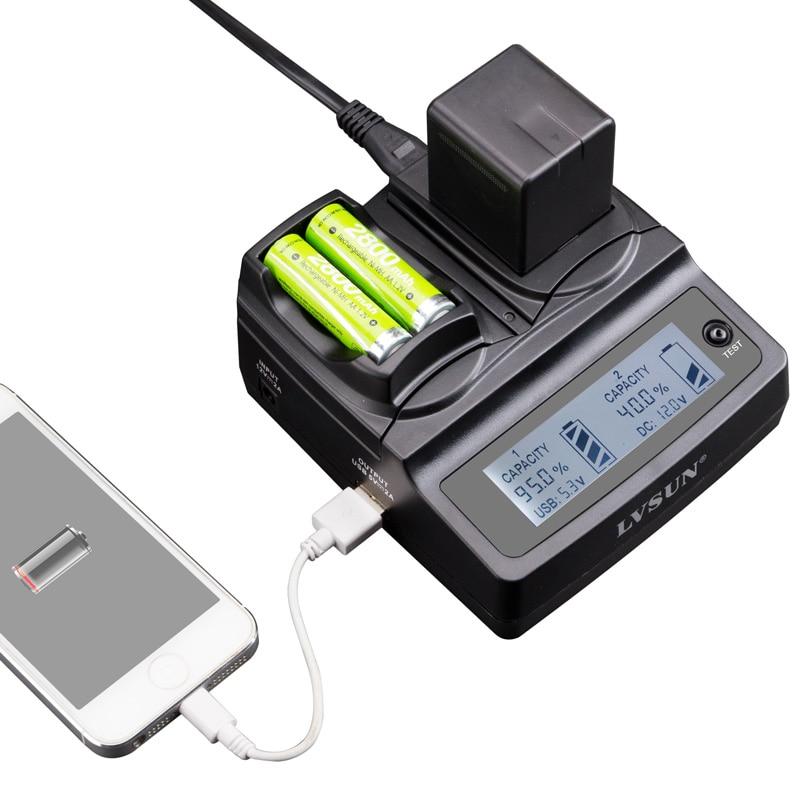 LVSUN Universal Phone+AA+Camera Car/AC EN-EL15 EN EL15 ENEL15 Charger For Canon Nikon D600 D800 D800E D7000 D7100 D7200 D750 D81 nikon aa 5