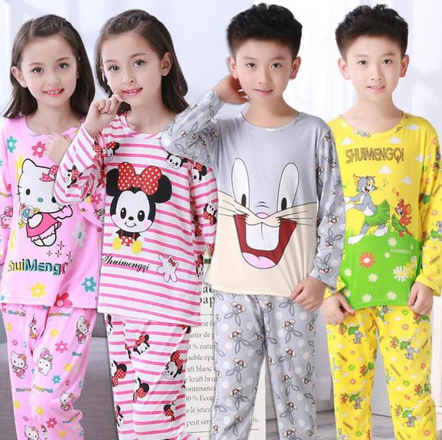 3c5e3c59759f1 US $4.13 25% OFF|Spring&autumn New Kids long sleeved Pajamas Sets Girls  Pajama boys Sleepwear children Home Clothing Cartoon Baby nightgown 3  14T-in ...