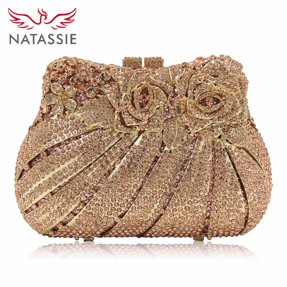 NATASSIE Women Crystal Evening Clutch Bags Rose Flower Purse Party Bag Female Wedding Clutches