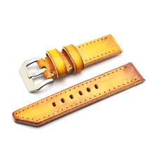 Купить с кэшбэком Vintage Yellow Handmade Band Men Watchband for Panerai 22mm 24mm 26mm Leather Watch Straps Male Replacement Bands KZV08