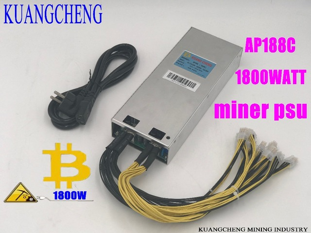 KUANGCHENG ASIC miner BTC LTC miner power AP188c1800W 12V powr supply 6pin High conversion for AntminerS9 D3 A3 V9 etc.Spot!!!