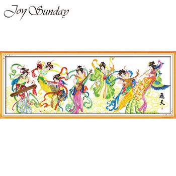 Joy Suanday Embroiderie Cross Stich Kit Counted 11 14CT Colorful fairy Portrait Pattern DMC Needlework Tela Aida Printed Fabric