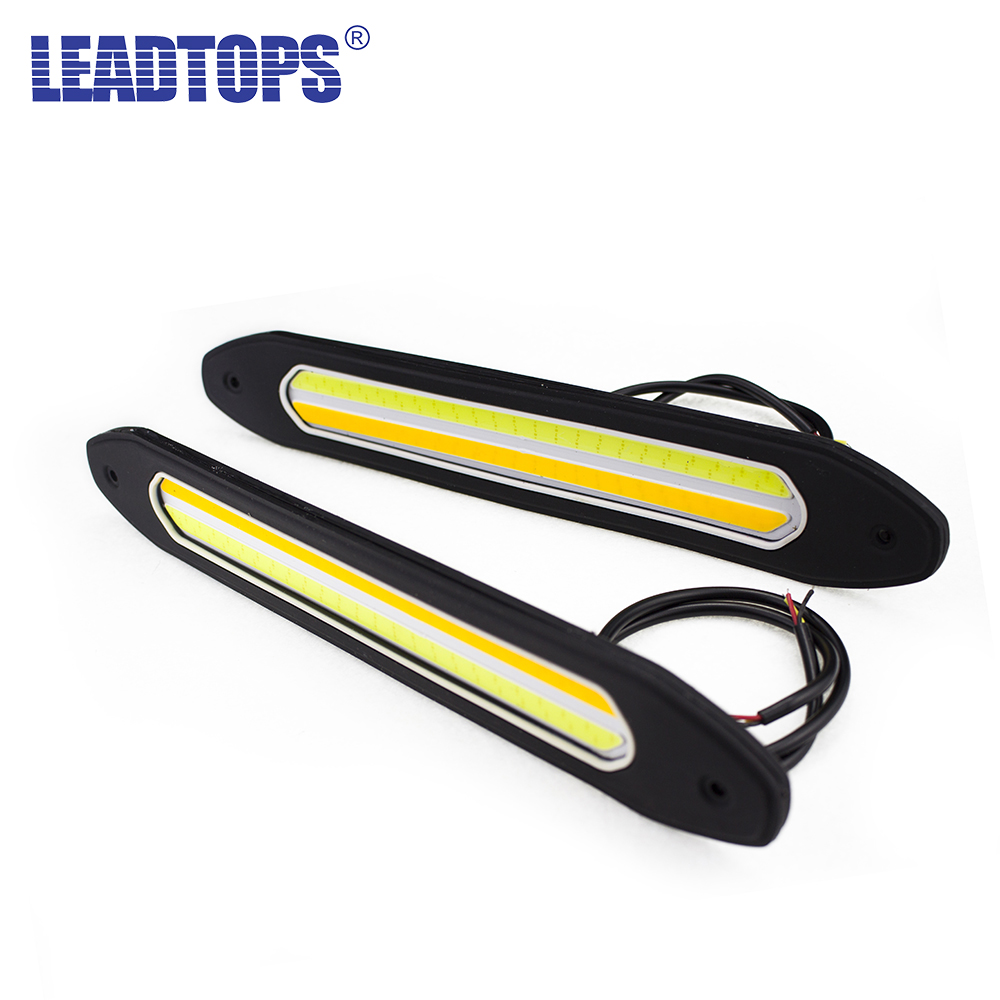 2Pcs Car COB Daytime Running Lights Turn Signal Light Fog Lights Flexible DIY DRL Silicone Waterproof LED Light CJ 2pcs waterproof white and yellow car headlight cob led daytime running lights drl fog lights with turn signal light in russia