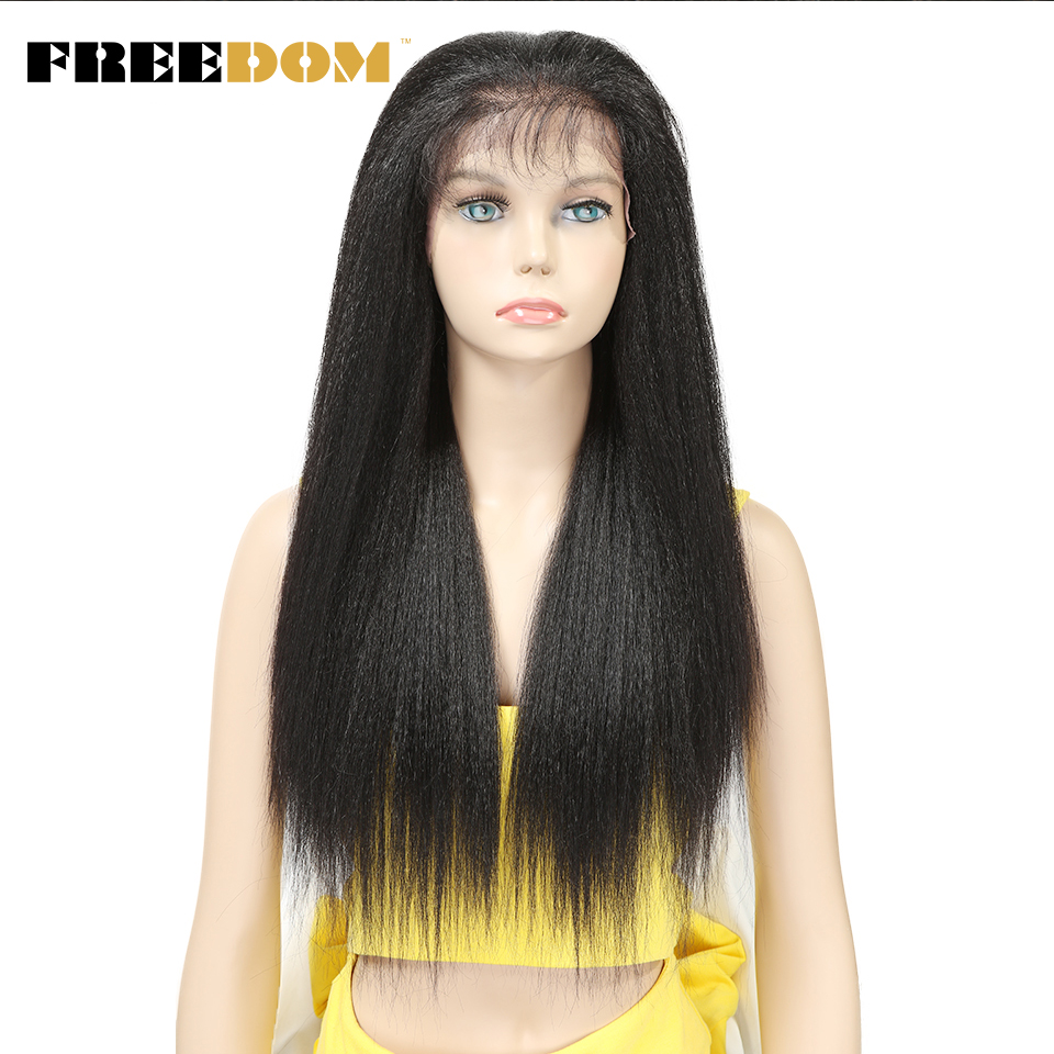 FREEDOM Synthetic Lace Front Wigs For Black Women Yaki Straight Long 26inch 65cm Afro Lace Wig Baby Hair Heat Resistant Fiber
