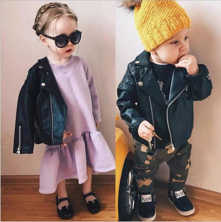 New Fashion Baby Boys Girls Leather Jackets PU Short Coat Winter Autumn Kids Leather Coat Children Motorcycle Cool Outerwear children s girl jackets 2018 new autumn winter baby girls pu leather jackets short girls faux fur coat kids single breasted 2 9t