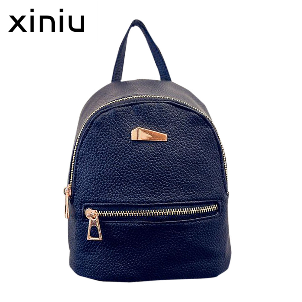 XINIU Backpack 2017 New Female bag Quality Leather Women Backpacks Sweet Girl Bow College Wind Travel Rucksack