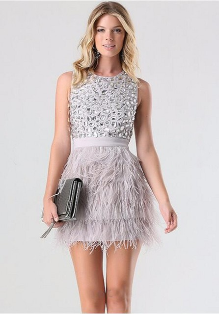 Mini Skirts Charming Short Feathers Prom Dress Sweet Crystal Dinner Party Dress Tiered Tank Graceful Dress Cocktail Dresses