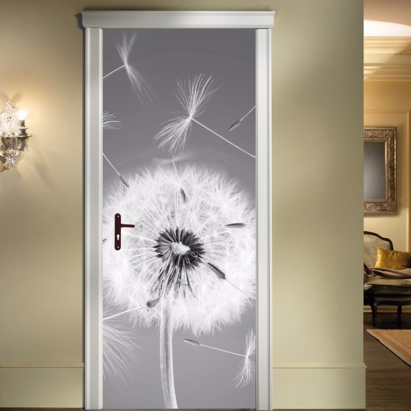 Door Stickers PVC Poster Self Adhesive Dandelion Home Decor 3D Canvas Print Waterproof Wallpaper For Living Room Art Pictures