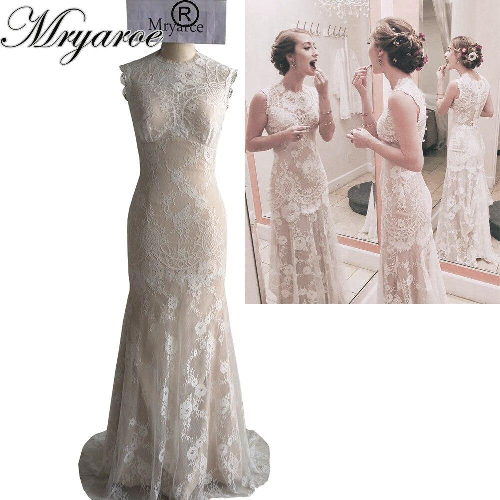 Mryarce Unique Design Vintage Exquisite French Lace Mermaid Wedding Dress Rustic Birdal Gowns vestido de noiva