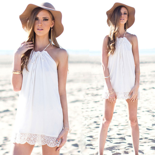 942f894cd4 Girls 2015 summer simple patterns summer dresses fashion new women casual  color white sleevelss soft beach wear free shipping