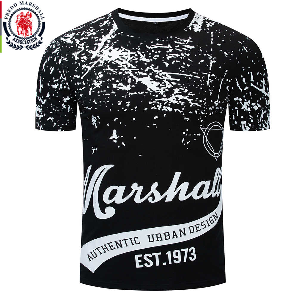 Fredd Marshall 2019 Summer New 10% Cotton T-shirt Male Print T Shirt Men Short Sleeve O-neck Letter Tshirt High Quality Tops 346