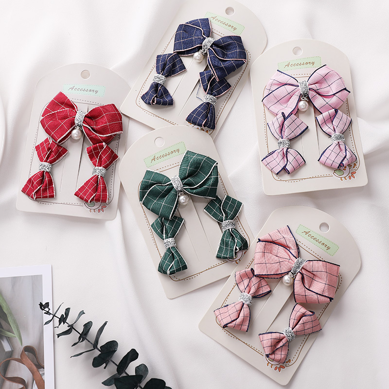 3PCS/Lot Girls Cute Plaid Bow Elastic Hair Bands Princess Headbands Rubber Bands Hair Rope Ponytail Holder Kids Hair Accessories