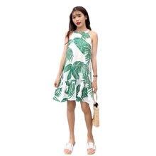 b42ff12e0b B2588 verano 2018 nuevas mujeres ropa de moda fresco Delgado dulce sin  mangas con volantes vestido con hoja de impresión barato .