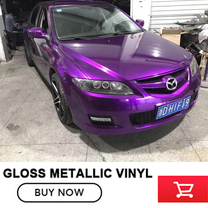 High Quality Glossy Metallic Purple Vinyl Wrap Gloss Purple Metallic Vinyl Roll Bubble Free Car Wrapping Size:1.52*20M(5ft*65ft) high quality stretchable chrome black vinyl wrap sheet roll for car wrapping air free bubble