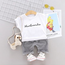 New 2019 Summer Baby Suit for Children Cartoon Comfortable Round Collar T-shirt + Shorts Two Casual