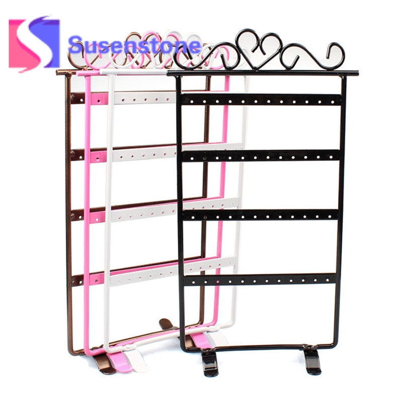 2017 Hot Usaful Jewelry Showcase 48 Hole Earrings Jewelry Display Wall Mounted Frame Rack Metal Holder Iron Convenient 4 Colours