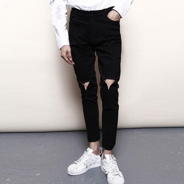 Yeni StylishFashion Erkekler Skinny Jeans Siyah Beyaz Renk Ripped Kot Erkekler Casual Sıkıntılı Denim Erkek Kot Toptan ve Perakende Q123
