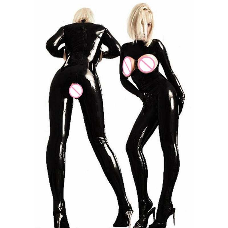 Sexy PVC Latex Catsuit Women Black wetlook Faux Leather Open Bust Bodysuit gay hot erotic Costume Crotch Jumpsuit lingerie