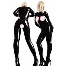 Sexy PVC Latex Catsuit Women Black wetlook Faux Leather Open Bust Bodysuit gay hot erotic Costume Open Crotch Jumpsuit lingerie топ и стринги faux leather open top