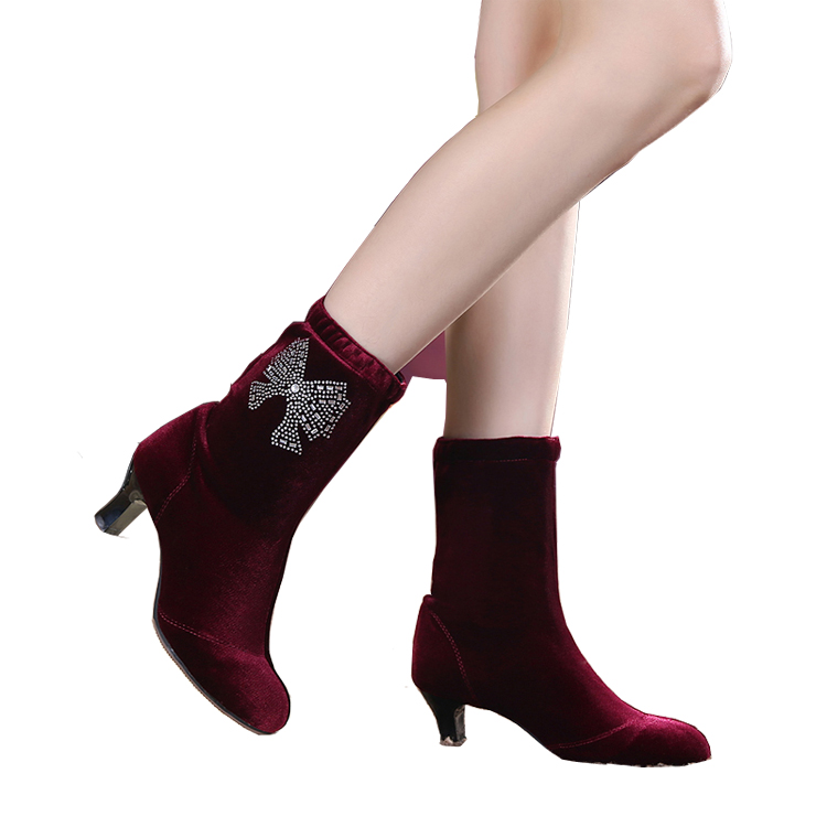 Latin Dance Boot Sports Shoes Woman Soft Bottom Velvet Square Boots Fine Dance Square Brand Latin Dance Diamond Short Shoe male latin dance shoes male sneaker leather shoes square modern adult soft bottom layer toe latin square dance party gb
