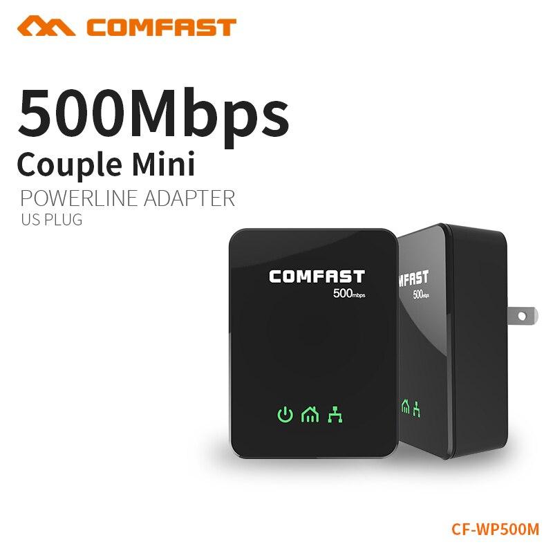 COMFAST 500Mbps Nano PowerLine Adapter Kit HomePlug AV PLC with Ethernet Power Line LAN Network Extender PLC Adapter for iPTV plc ethernet plc elc 12dc da r n hmi built in ethernet capability