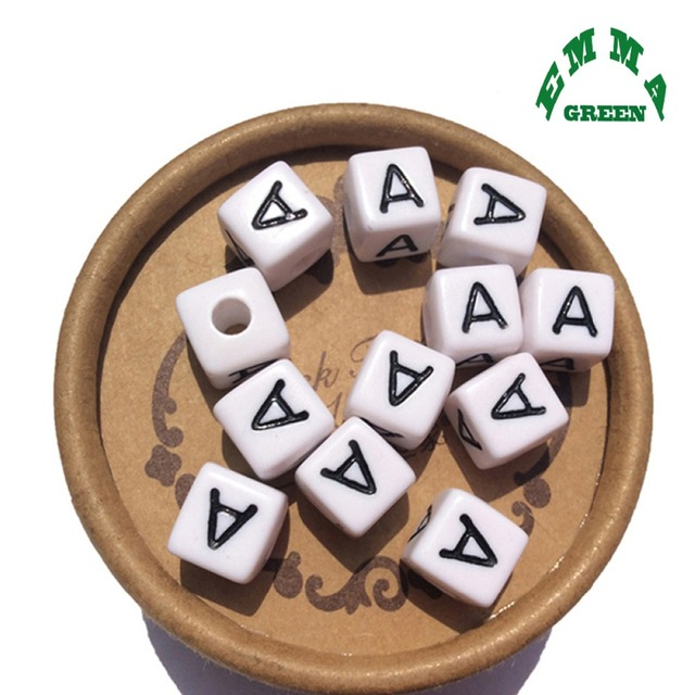 Beads for Jewelry Making Letter Beads 10mm 550pcs A Z Separate Alphabet Beads White Beads Square Beads for Kids Acrylic Beads
